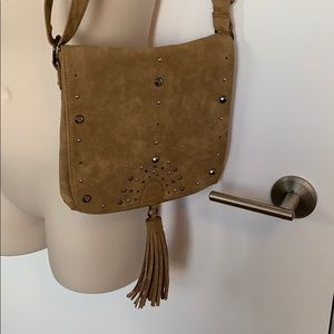 MAURICES Suede Tan Tassel Studded Crossbody Purse